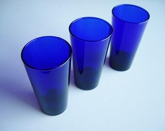Vintage, Cobalt Blue, Tumblers, Drinking Glasses, Libbey, Set of 3, Barware, Plain, Minimal, Cobalt Glass, Gift under 30, Blue Tableware