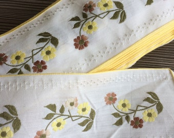 17.4 meters Vintage floral yellow green woven ribbon trim 66mm