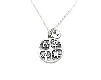4 Seasons Necklace, 4 Seasons Pendant, 4 Seasons Charm, 4 Seasons Jewelry, Four Seasons Necklace, Season Charm, Winter Necklace, Fall Charm