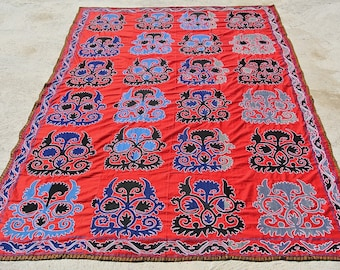 Tribal Uzbek Wall Hanging, Vintage Hand Embroidery Tablecloth, Central Asia Ethnic Dowry Coverlet / 80,3'' x 114'' -  204 x 290 cm
