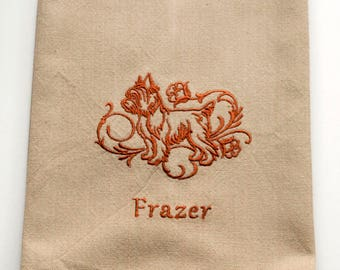 Yorkshire Terrier Tea Towel | Dog Kitchen Towel | Embroidered Tea Towel | Dog Lover Gift | Embroidered Kitchen Towel | Custom Hand Towel |
