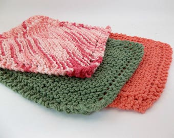 """Knit Cotton Cloths Orange Variegated and Green Cotton Wash Dish Cloths  8"""" Square Set of 3"""