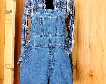 Overall shorts size S / 90s Old Navy denim bib shortalls overalls / medium wash jean bib shorts