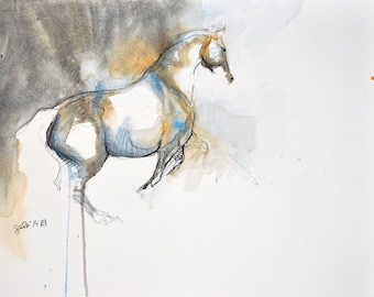 Esquive 3t - Original Black Chalk and Watercolor Horse Drawing