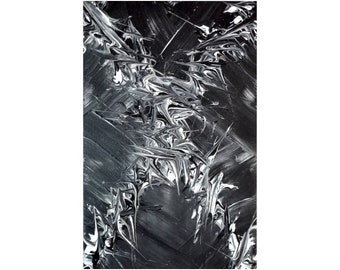 Original Abstract Painting, Modern Texture Abstract Art - Palette Knife Painting on Canvas. Acrylic Abstract Black White Grey Gray Fine Art