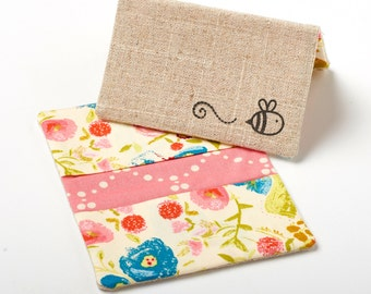 Womens Pink Wallet, Floral Business Card Holder, Flower Card Case, Bee Wallet - Pink Blooms - Bee Gift