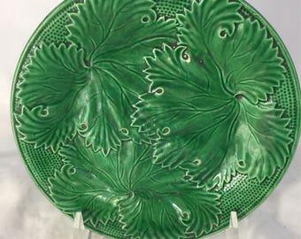 Vintage Majolica Plate In Green