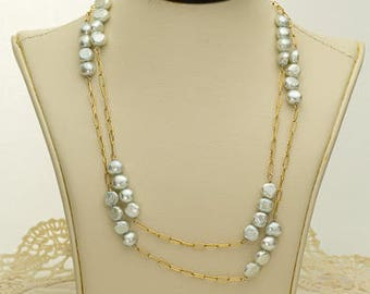 Light Blue Pearl Necklace 55.75ct (B85N)
