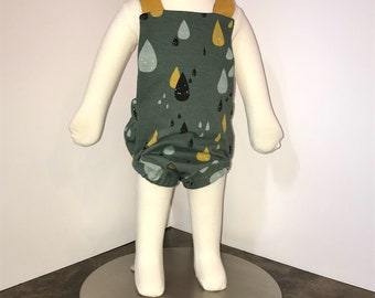 Baby boy rain drop summer romper, baby boy romper, children clothing, baby boy clothing, baby overalls.