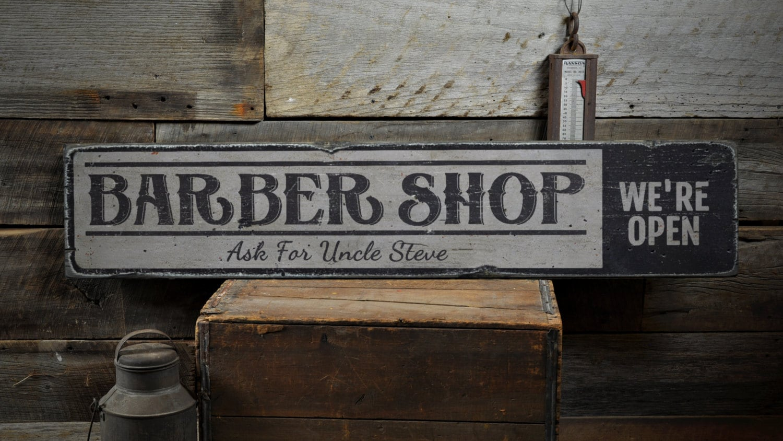 Man Cave Barber Williams Lake : Barber shop wood sign custom we re open decor salon