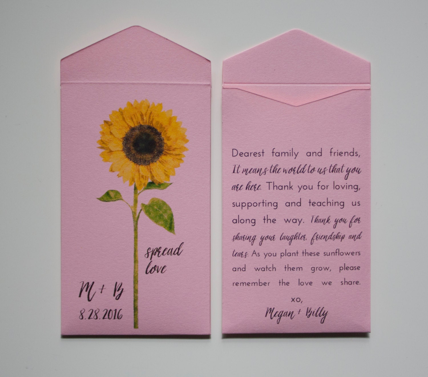 Sunflower Seed Packets Sunflower Wedding Favors Wedding