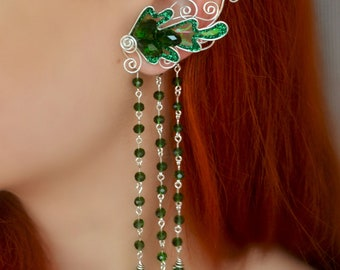 Elven forest ear cuff with pendants
