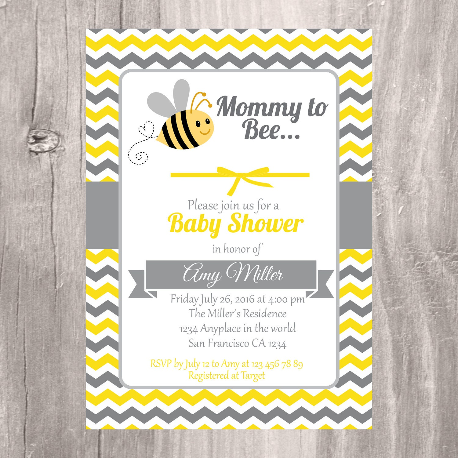 Baby Shower Invitation Printable Bumble Bee Baby Shower