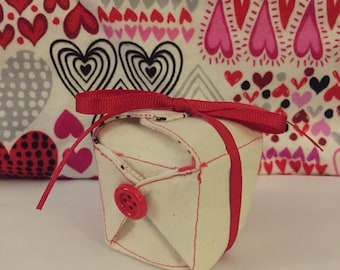 Fabric takeout box with fabric fortune cookies