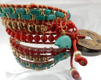 red and turquoise leather wrap bracelet