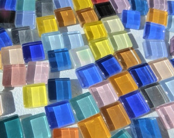 Colorful Mini Tiles - 1 cm Glass Mosaic Tiles - Assorted Colors - 250 - Use for Mosaic Jewelry Crystal