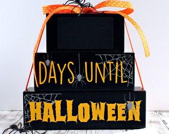 Halloween Countdown, Handmade Wooden Countdown, Happy Halloween, Pumpkins, Halloween Decoration, Chalkboard Countdown, Handmade Gift, Spider