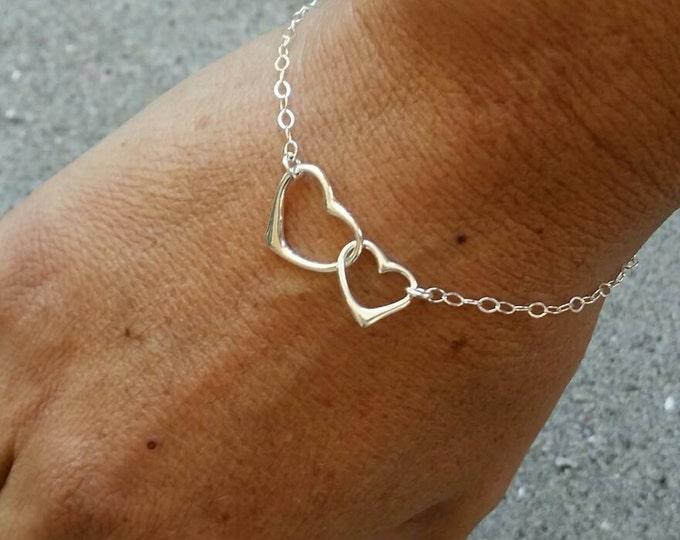 Sterling Heart Bracelet, Double Heart, Heart Bracelet, Silver