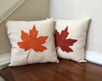 Fall decorative pillows, Leaf appliqué pillows