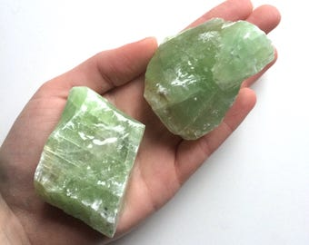 Green calcite large raw natural one stone 3""