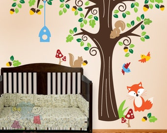 Forest Friends Wall Decals - Nursery Wall Decals - PLFR010L  sc 1 st  Etsy & Nursery Wall Art Animals in the Wood Wall Stickers Nursery
