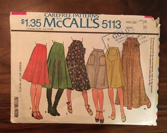 Vintage sewing pattern | McCall's sewing pattern 5113 miss size 10 waist 25 | misses' set of skirts | 70s sewing pattern