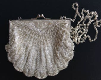 Vintage Silver and White Evening Bag 80's does 20's