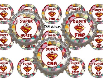 "Super Nurse  ~ Digital Set of 15 1"" Digital Bottle Cap Images  ~ Instant Download (DS 004n)"