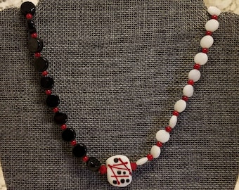 Fun Lampwork Necklace with Red, Black and White Focal Bead