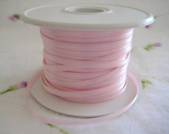 "1/8"" Pink Satin Ribbon for Crafting, Hair Accessories, Scrapbooking, Tags, Baby Shower, Party Favor, Sewing, Wedding, 3 mm, 10 yards"