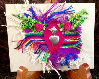 Sacred Heart Milagro Art Card, Mexican Votive, Guatemalan Cotton, Textile Collage, Purple, Green, Hot Pink. Greeting Card, Religious Card.