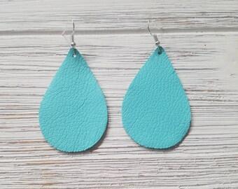 Leather Earrings Robin Egg blue Leather Teardrop Earrings sky blue Easter basket gift