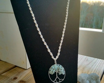 Tree of Life Aquamarine Sterling Silver Hemp Necklace
