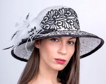 Kentucky derby hat, Ascot wide brim hat, race season hat, Royal ascot, White black hat, wide lace hat, elegant hat, Melbourne cup hat