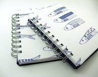4 x 6 Blank Notebook Journal, fish fabric purple cream, spiral bound book, sketchbook journal, travel journal, prayer journal,