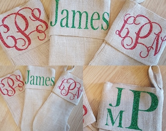 Free Shipping Personalized Monogrammed Burlap Christmas Stockings