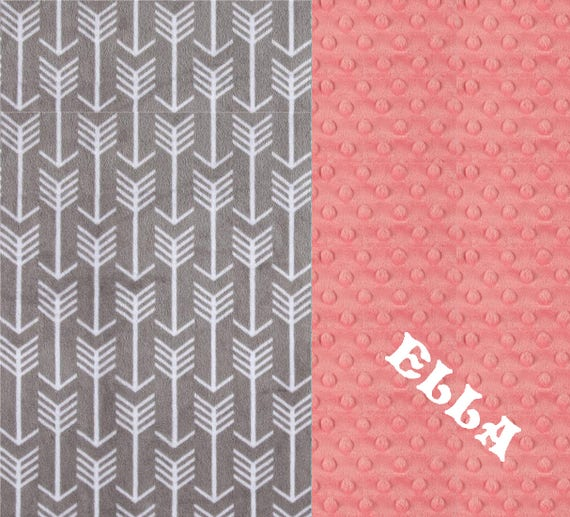 Personalized Baby Girl Blanket, Coral Arrow Minky Baby Blanket Girl, Coral Gray Arrow Baby Blanket - Stroller Blanket - New Baby Gift