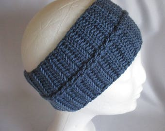 Headband ear Warmer Selfmade blue ku ca. 54-57 cm Earwarmer Crochet Headband