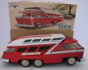 Vintage Battery Operated Tin Toy Bus (China) ME 083