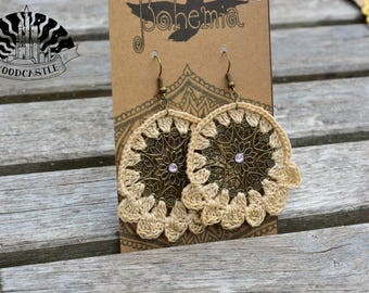 Dream Catcher Styled Crochet Earring with Metal, Bronze Charm - Crocheted by WoodCastle