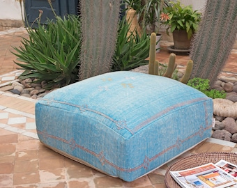 Moroccan Pouf, Cactus Silk Pouf Ottoman, Floor Cushion, Floor Pillow, Foot Stool, Refashioned from a Berber Sabra Rug. PNS127