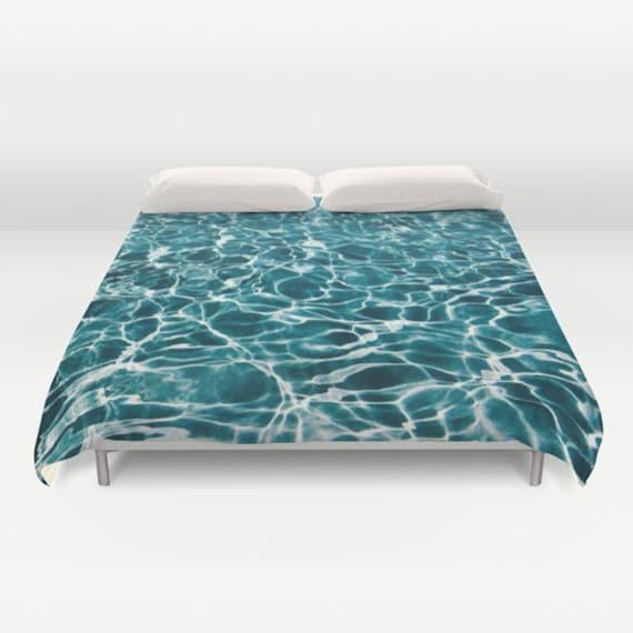 POOL Duvet Cover, Water Decorative bedding, unique design, Nautical comforter cover, Aqua Blue bedroom, Ocean Blue, Abstract Bedding, Dorm