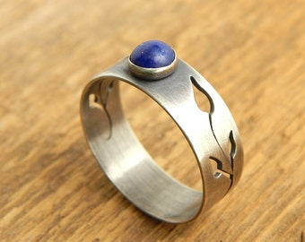 Lapis and sterling silver ring with hand-cut leaves, size 8.75 - ready to ship.