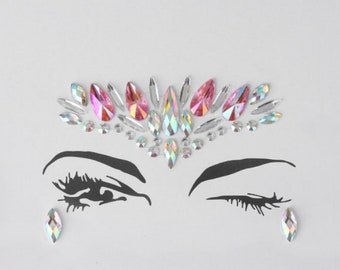 Festival Face Jewels | Pink Holographic Face & Body Jewels Sticker For Festival, Rave, EDC, Coachella | Rave Festival Face Gem Stickers