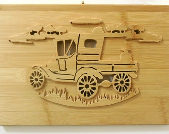 Old Milk Truck Bamboo Wall Art Relief Carving Nostalgic Vintage Scene