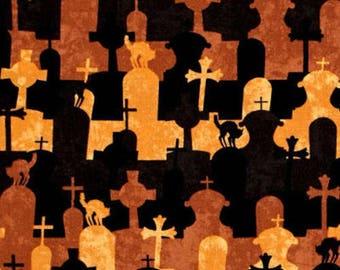 Come Sit a Spell Graveyard  Fabric  Halloween Wilmington Fabrics