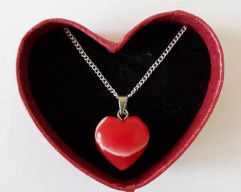 Red crystal stone heart silver plated valentines necklace. Drop heart necklace. 18 inch. Handmade. Limited edition.