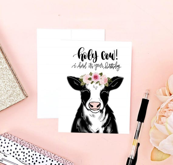 Cow birthday card funny birthday card cow art punny bookmarktalkfo Images