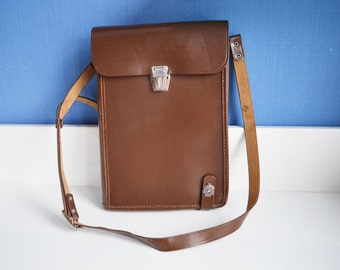 Brown leatherette and leather Messenger Bag 1979 Never Used New Old Stock, Leather bag for him, military messenger  bag, leather bag for her