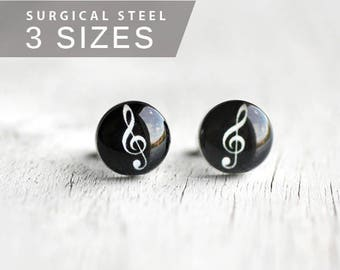 Treble Clef earring studs Music ear studs Surgical steel posts music note earrings mens earrings, gift for her